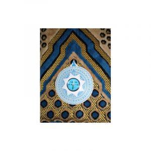 Tapis de prière avec boussole bleu