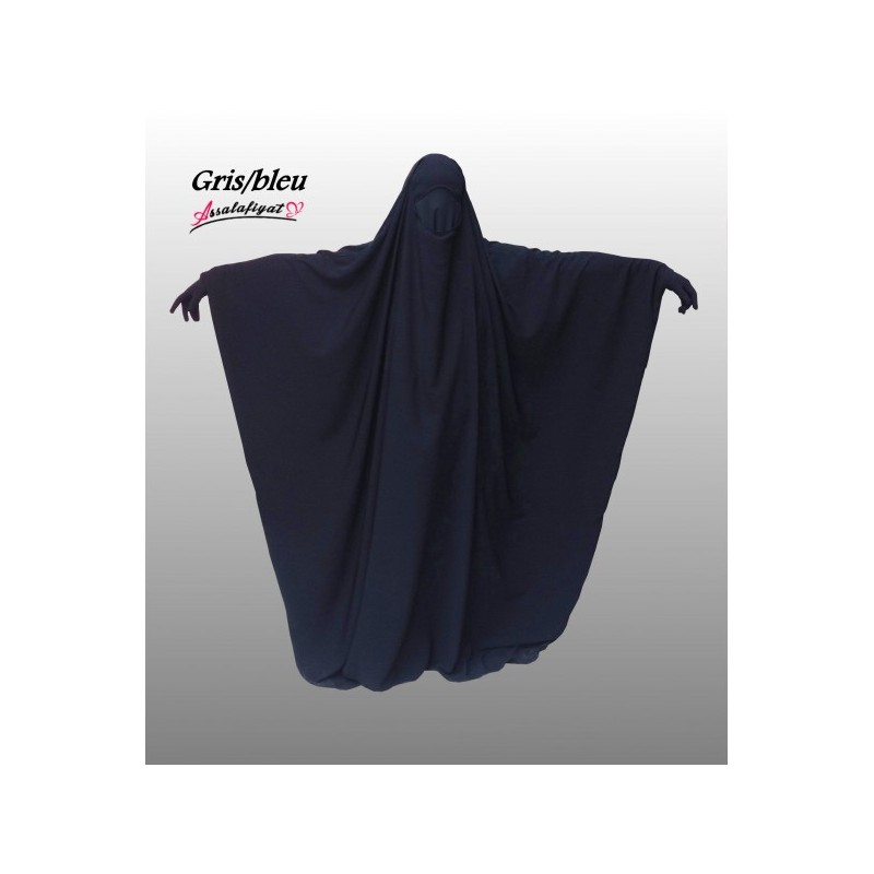 Jilbeb saoudien 1 pièce gris bleu- As Salafiyat