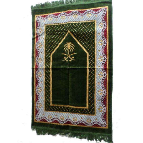 Tapis de prière vert sapin - grande taille et confort maximal