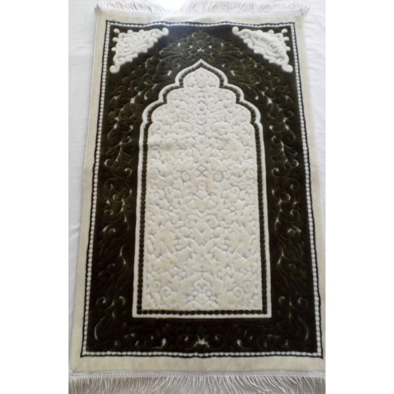 Tapis de prière vert kaki et blanc Nayif - douceur et confort
