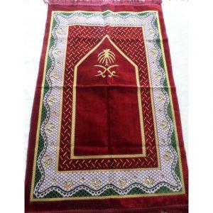 Tapis de prière Taslim rouge - grande taille et confort