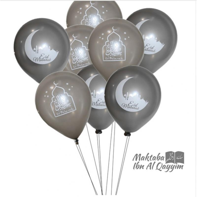 Lot de 5 ballons Eid Mubarak - Argenté