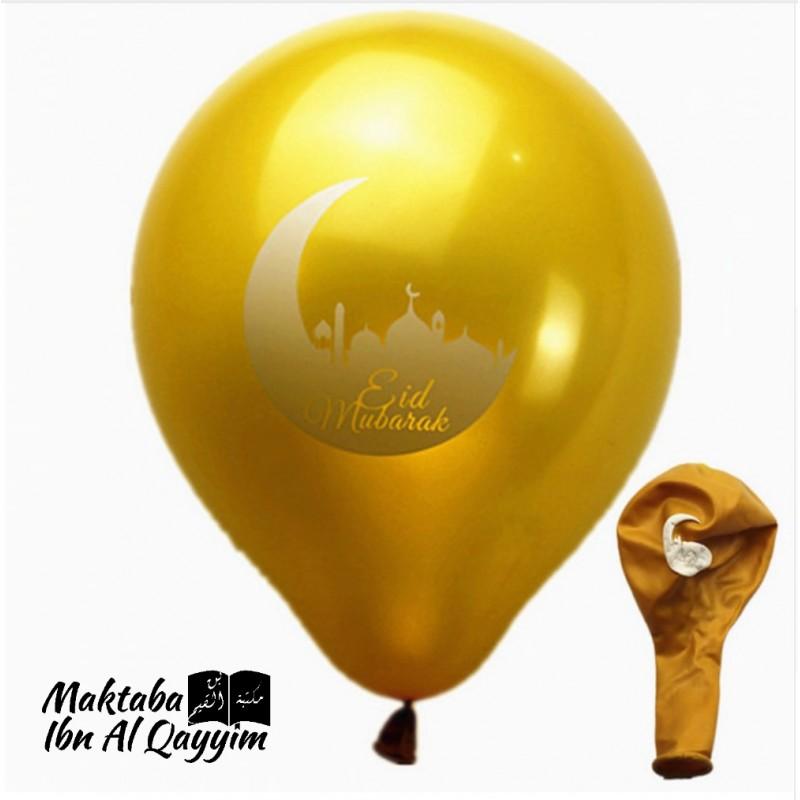 Lot de 6 ballons Eid Mubarak - Doré