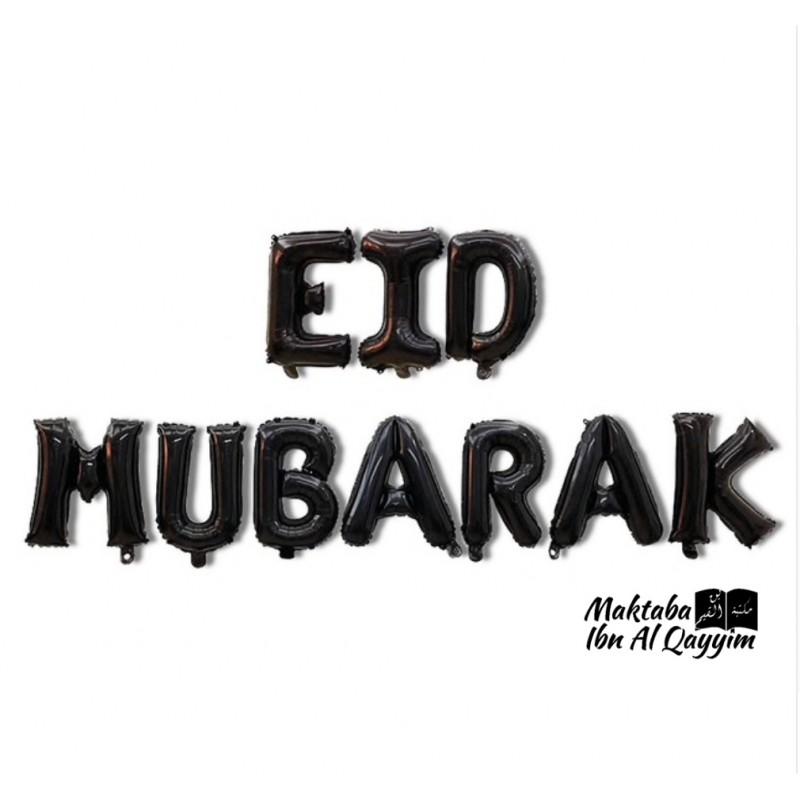 Banderole de 10 ballons Eid Mubarak - Noir