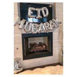 Banderole de 10 ballons Eid Mubarak - Argenté