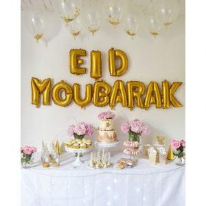 Banderole de 10 ballons Eid Mubarak - Doré